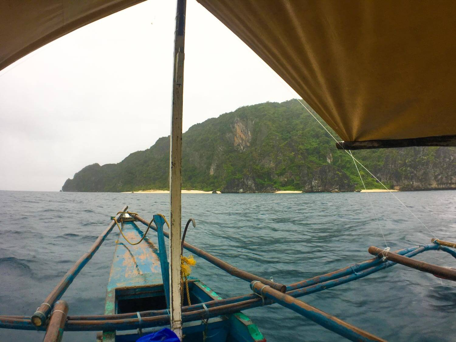 Looking over the bow of our boat with Black Island in the distance