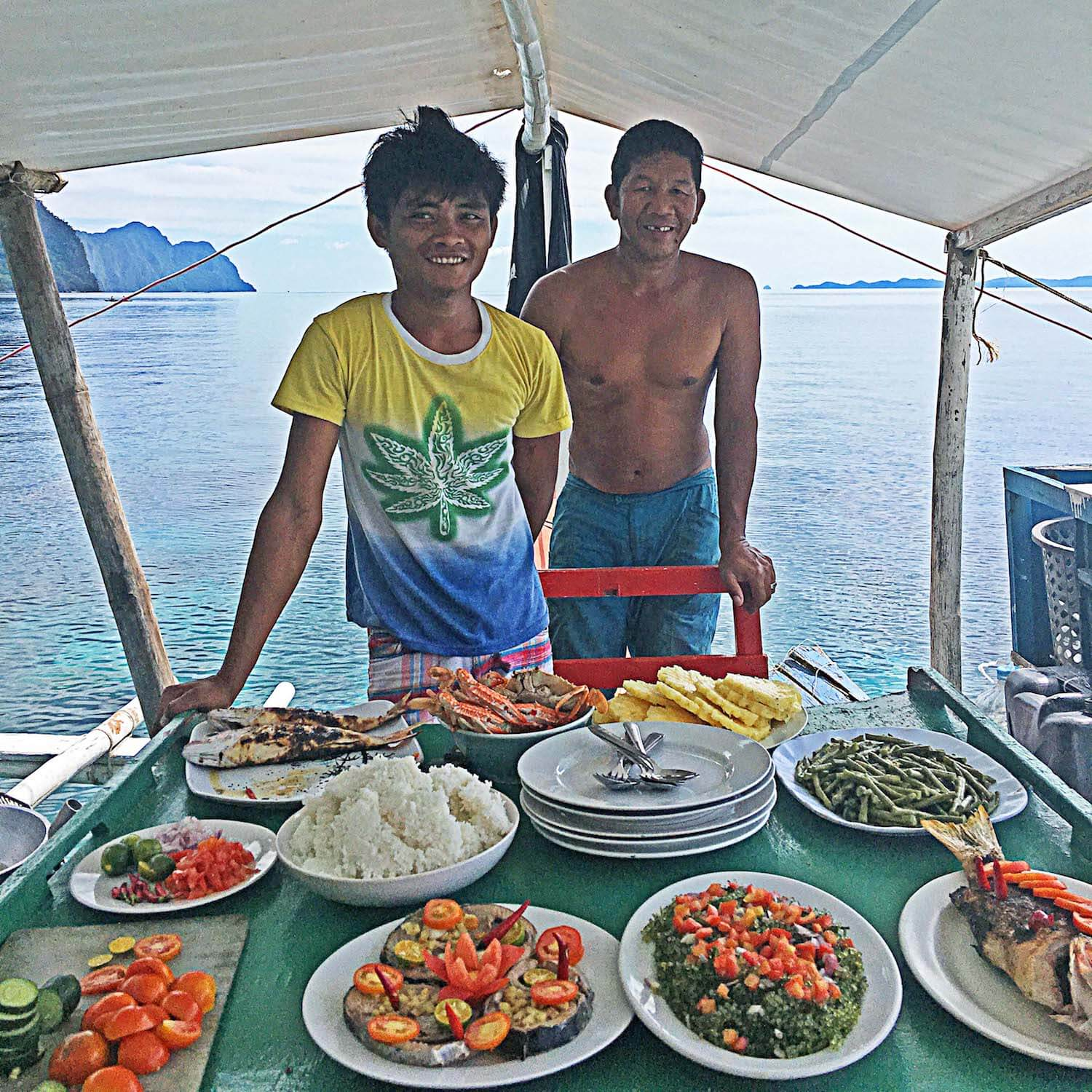Captains and the lunch spread the made for us.