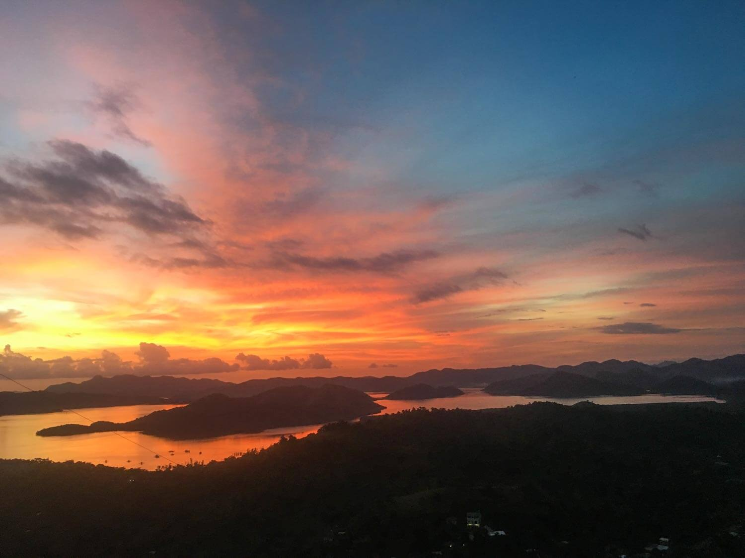 Colorful sunset from top of Mount Tapayas