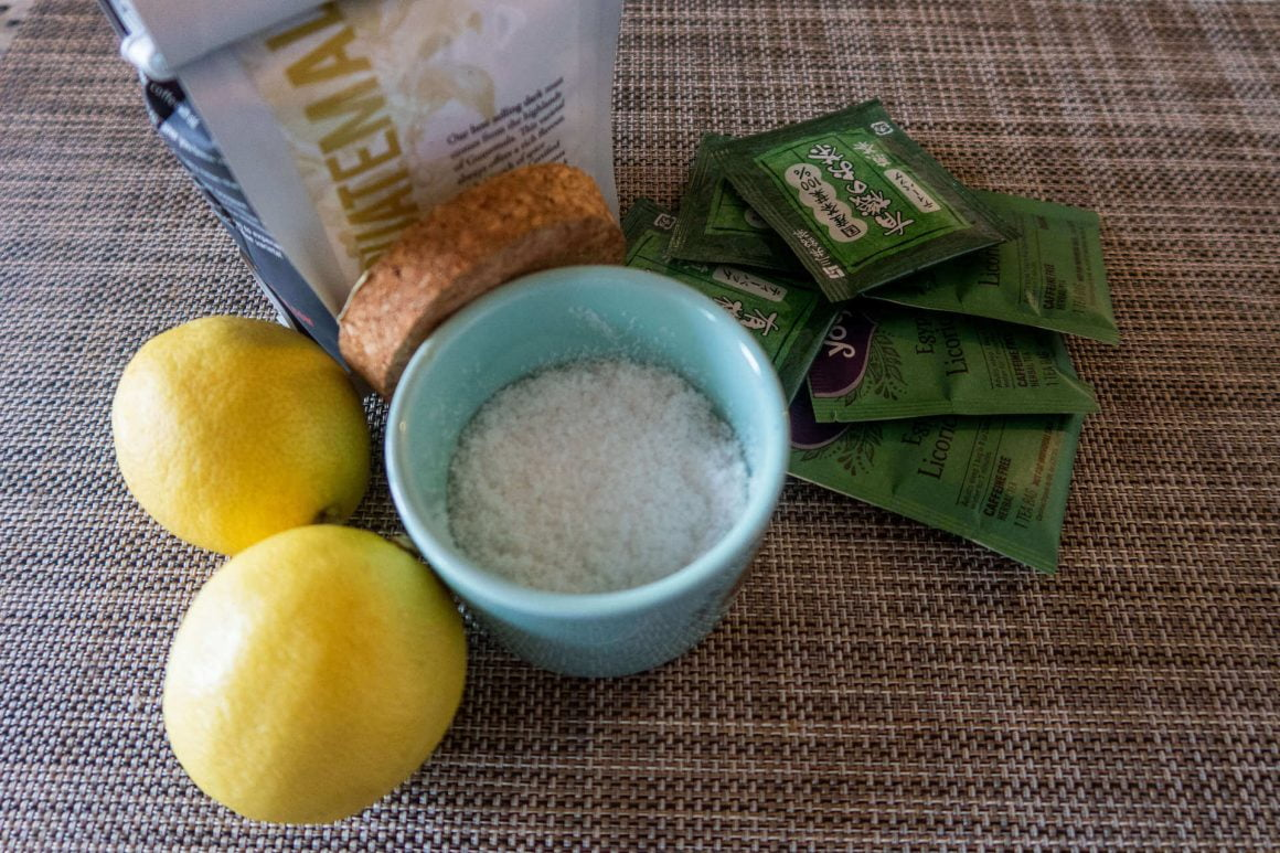 Photo of lemon, salt, tea, coffee