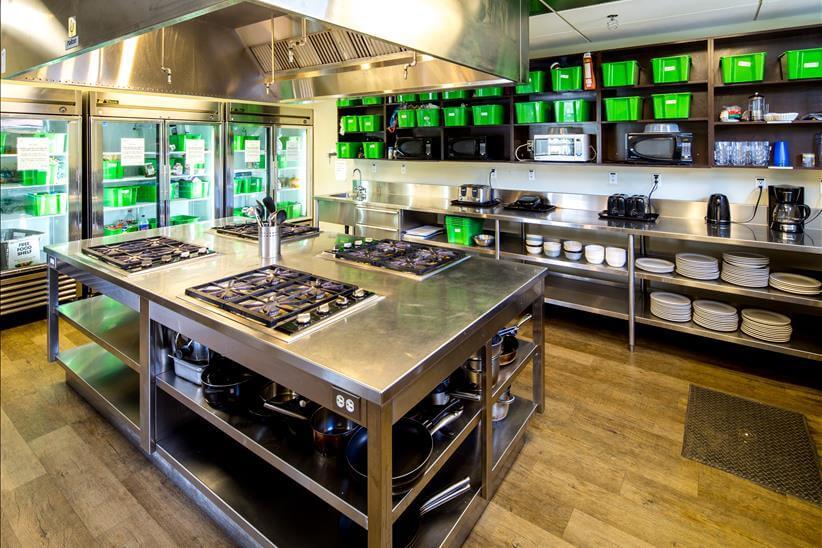 HI Whistler hostel kitchen