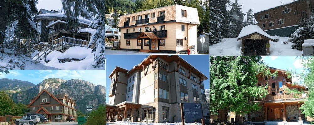 Whistler hostels ultimate guide cover image of six of the hostels.