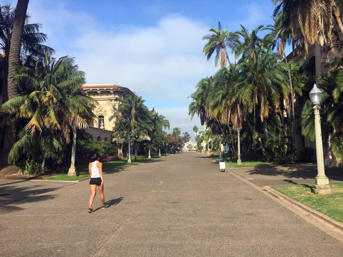 Kim walking through Balboa Park in San Diego