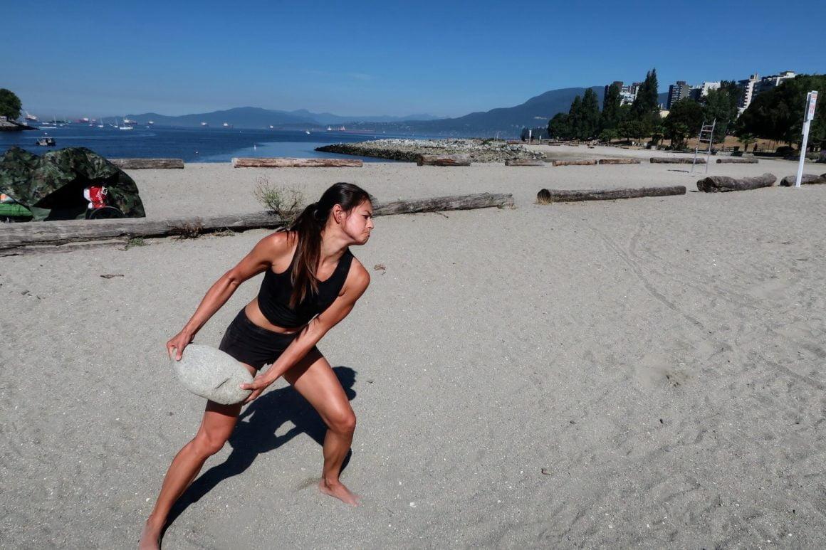side throw stone training exercise