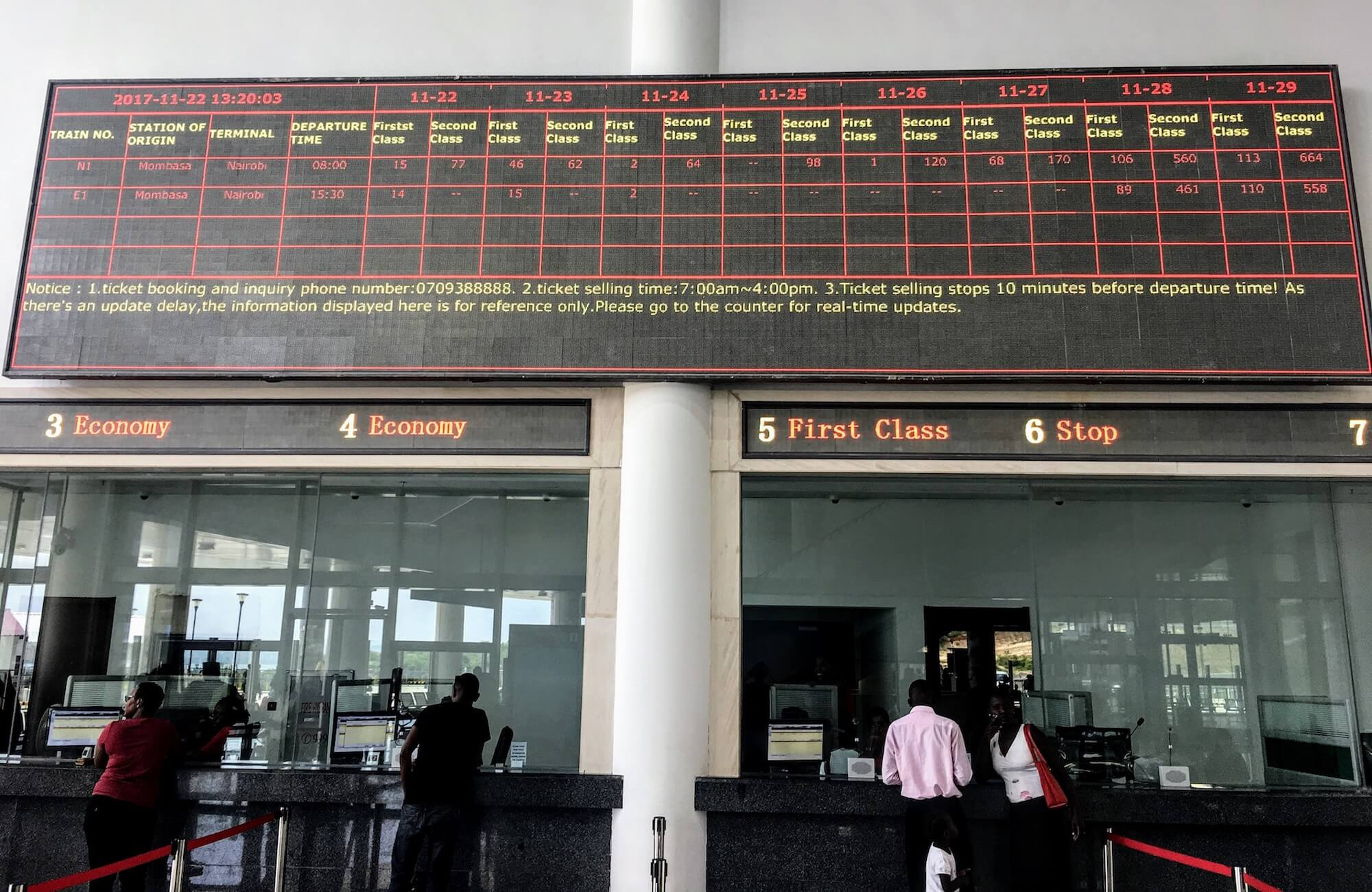 mombassa train station ticket availability