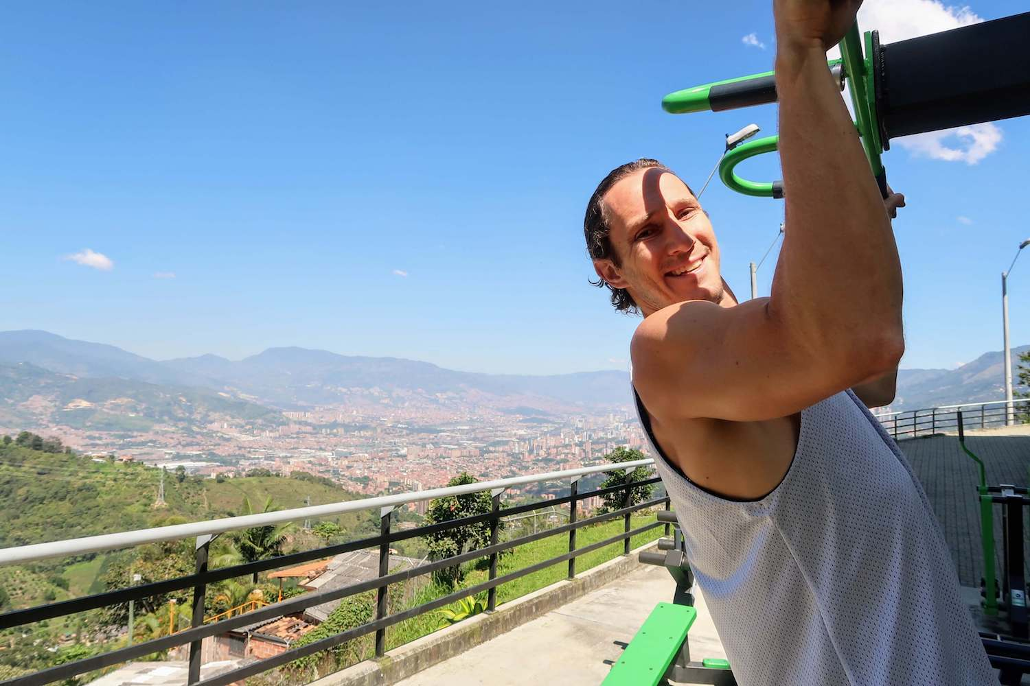 Chris workout out at Arenales viewpoint of Medellin after waterfall hike
