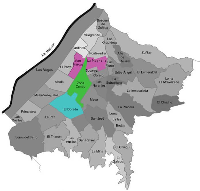 Envigado neighborhood map
