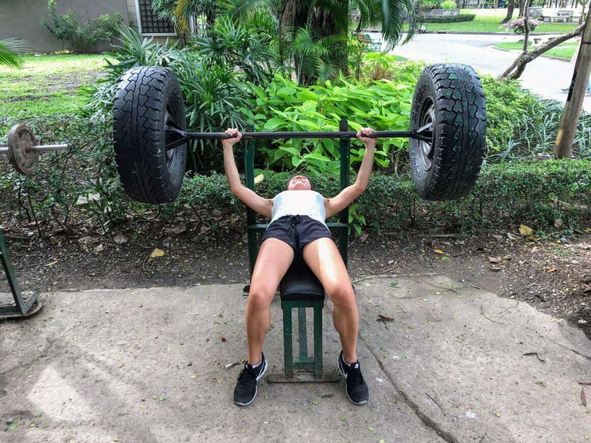 Kim working out in Bangkok