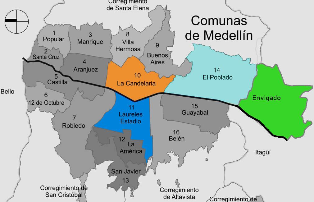 map of Medellin, Colombia comunas