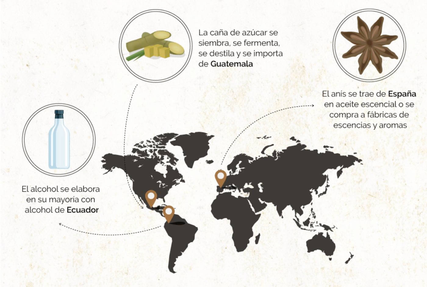 map of where aguardiente ingredients come from