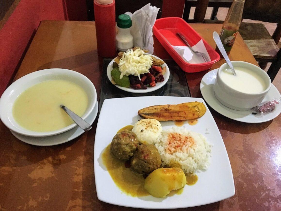Casa de Beto albondigas (meatball) menu del dia with soup and salad and mazamorra
