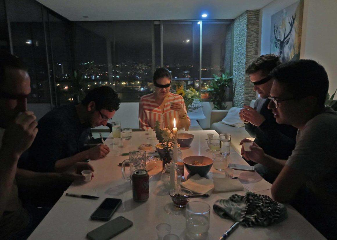 Table of people tasting Colombian aguardientes