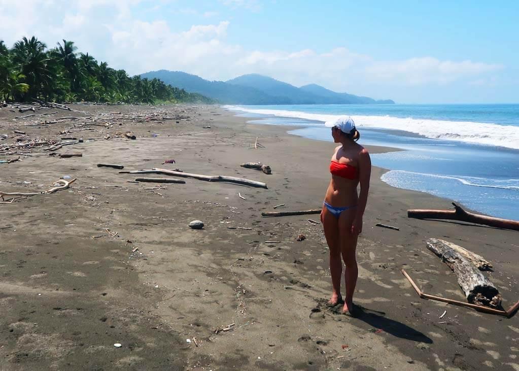 Kim looking down Playa Cuevita on Colombia's Pacific Coast