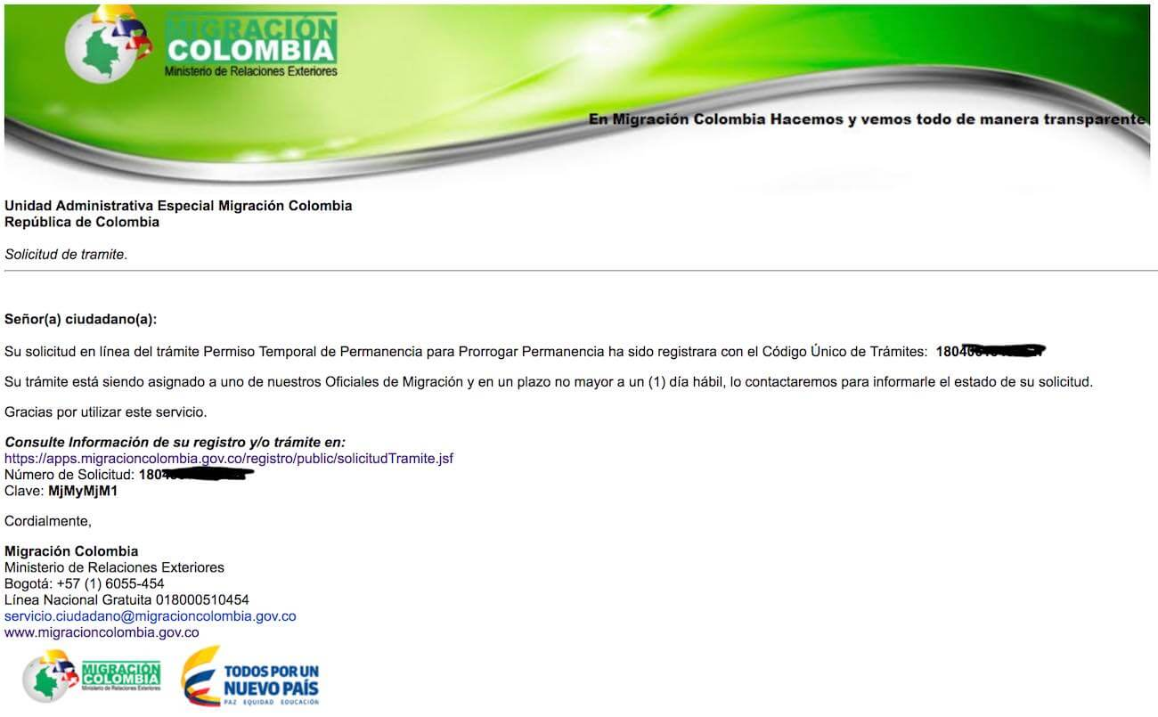 Colombia tourist visa application confirmation email