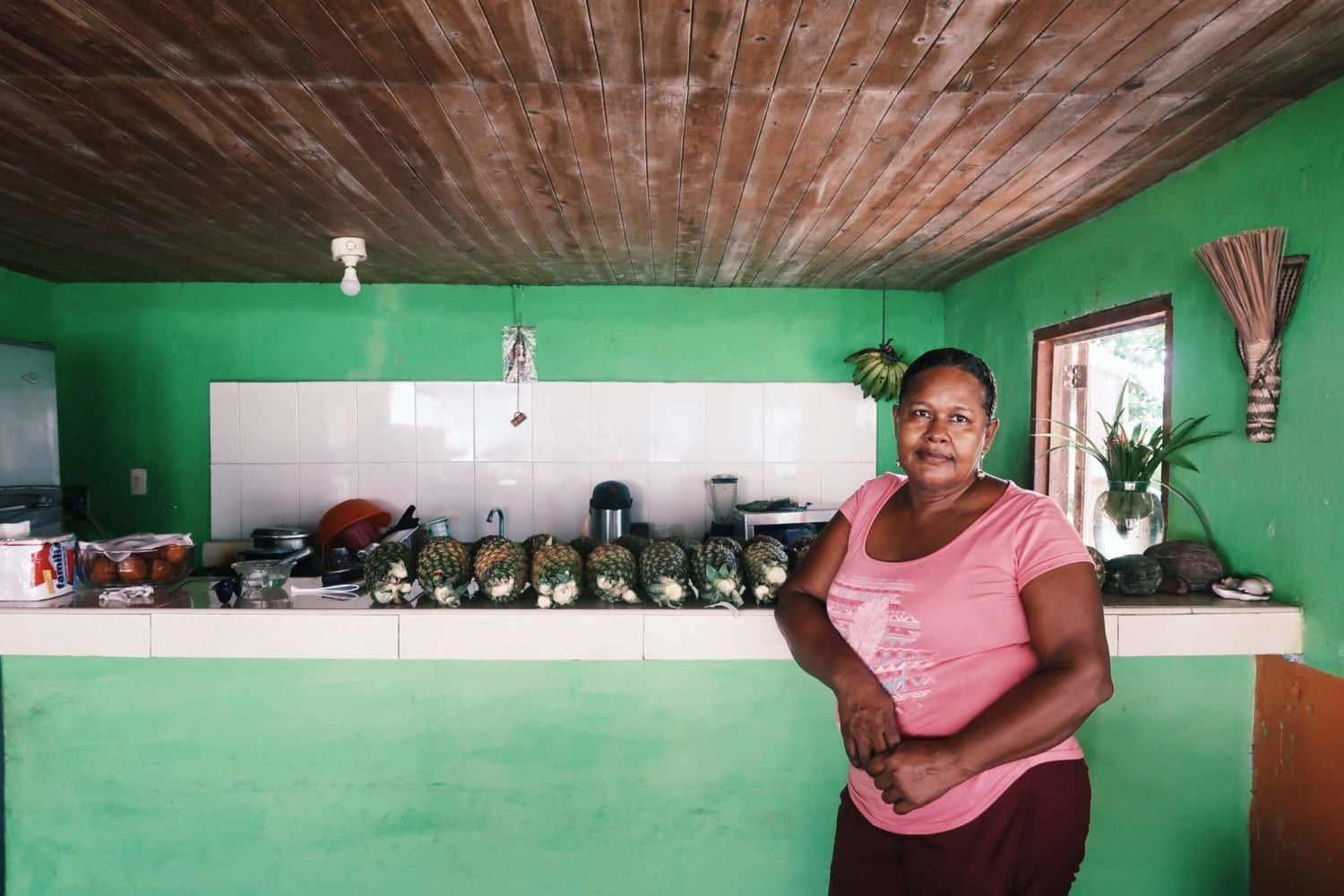Pilar posing by her smoothie bar in El Valle, Colombia