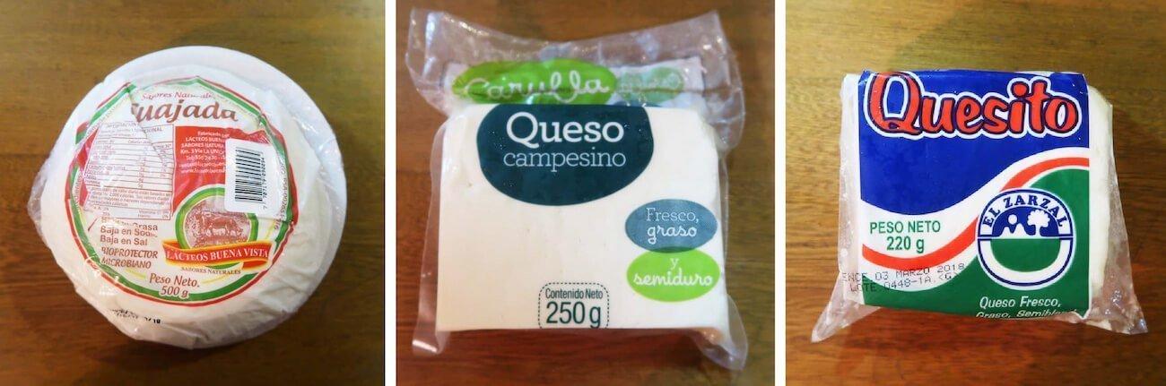 Examples of quesito, cuajada, and campesino cheeses