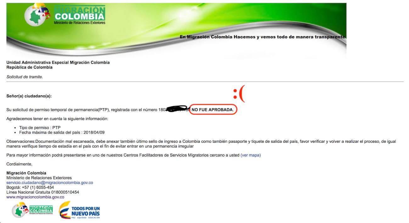 Screenshot of online visa extension rejection email.