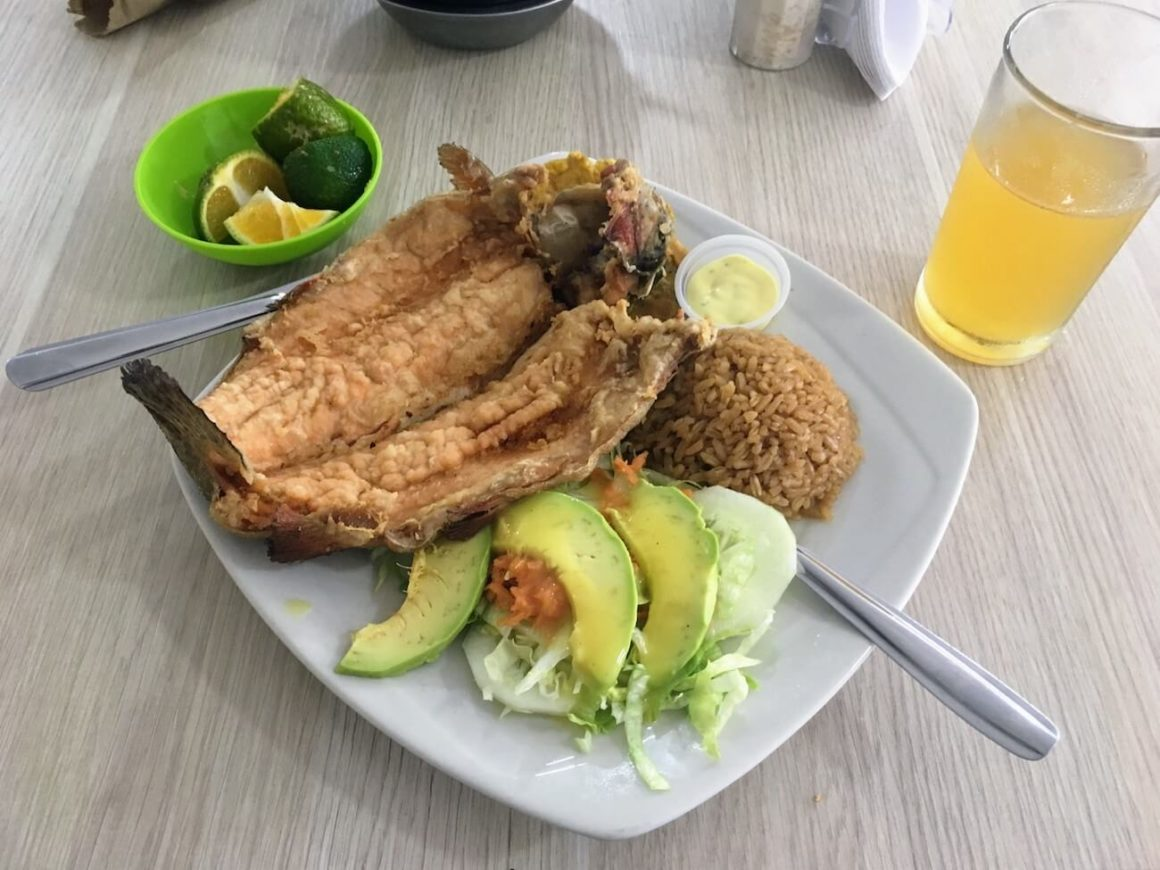 Sazon de Mar restaurant's menu del dia with trout, salad, and rice.