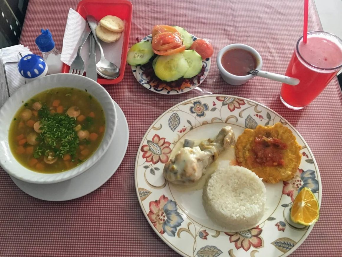 Soup, salad, plate, and juice at Tazmania