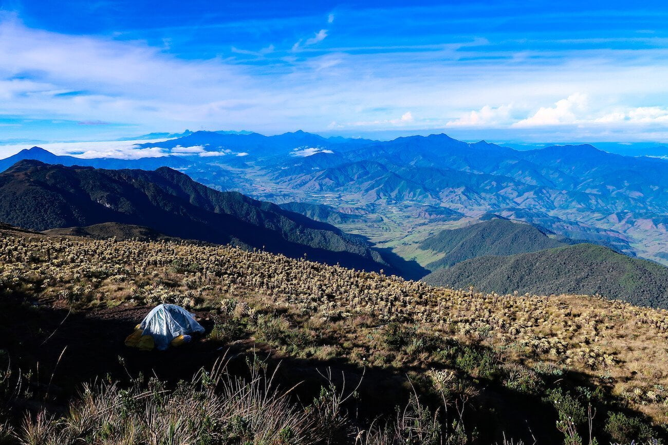 Tent and view down to Urrao and the valley below