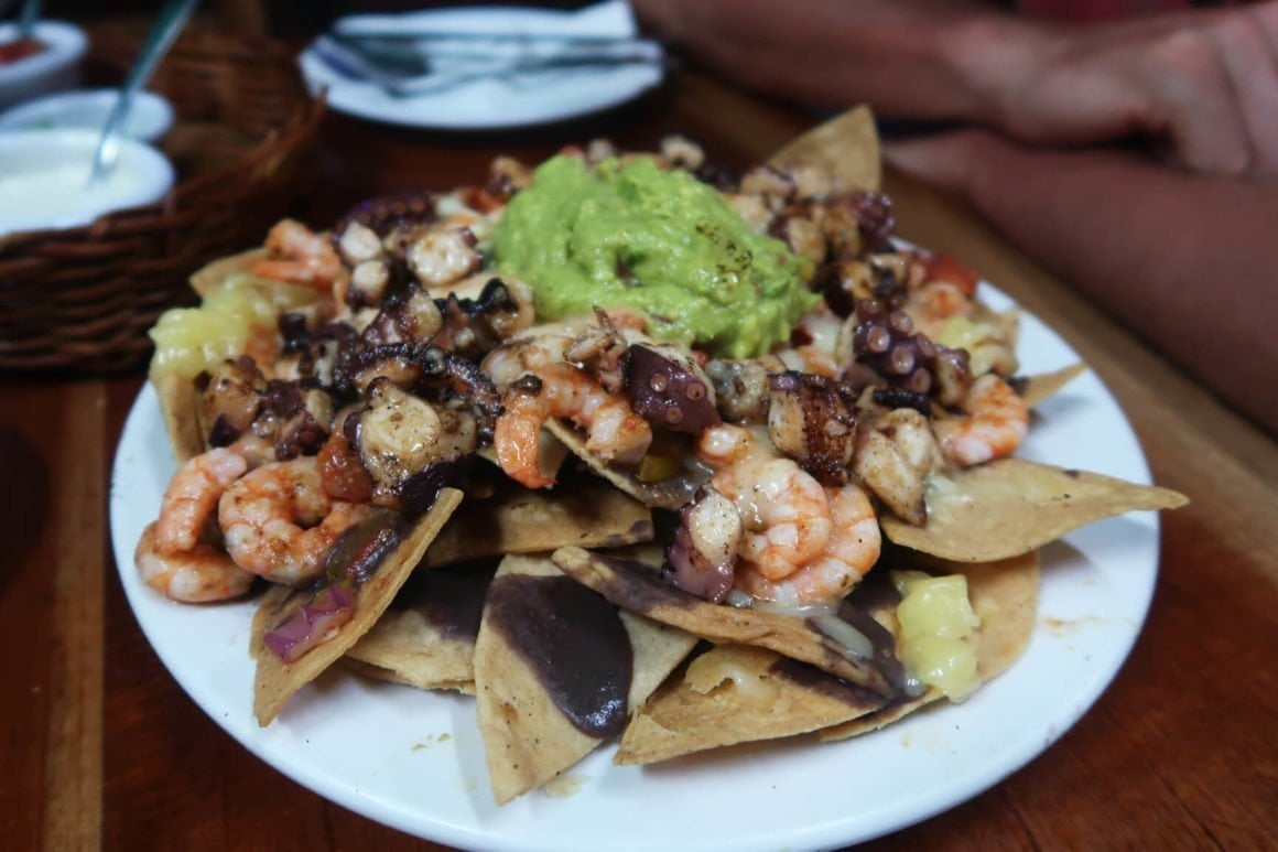 octopus and shrimp seafood nachos at barracuda in tulum mexico