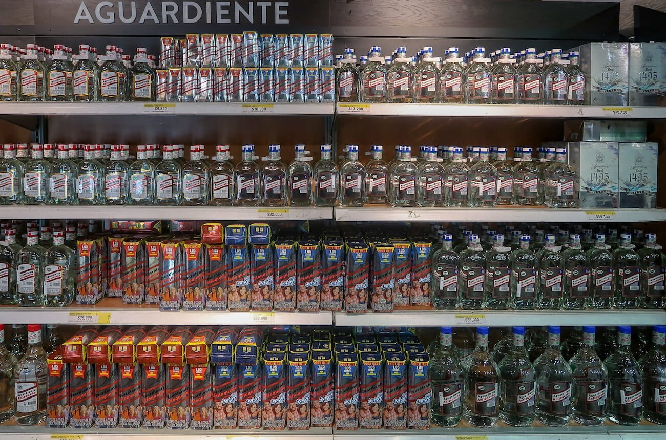 Aguardiente at Colombian supermarket