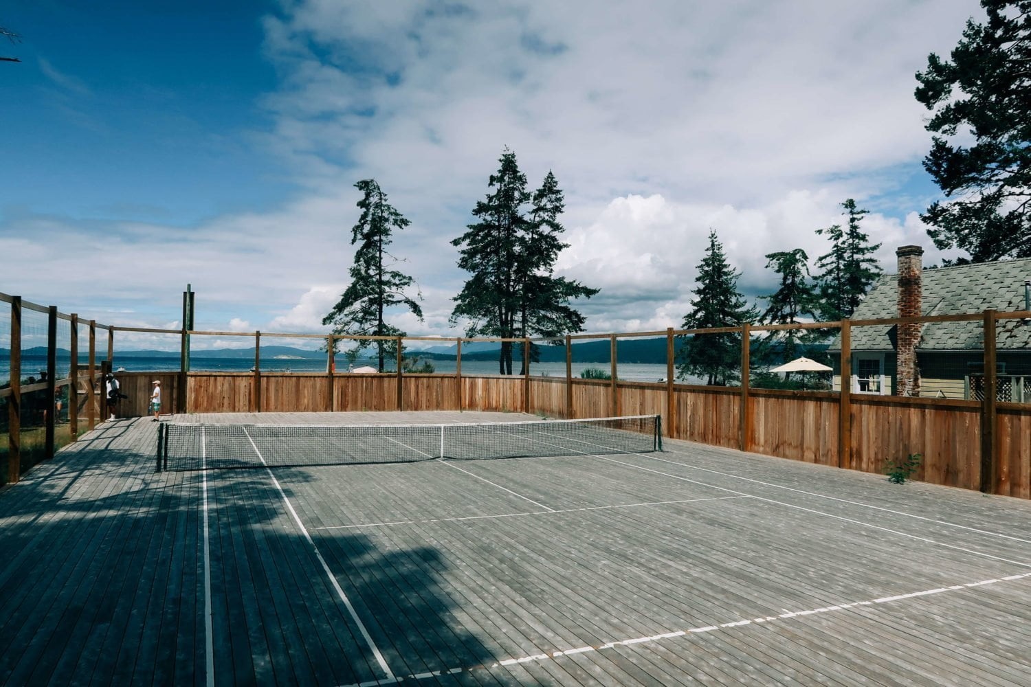 wooden tennis court on savary island