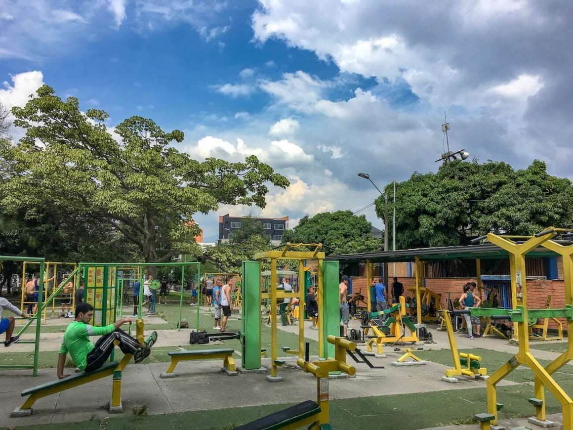 View of INDER workout area in Belen, Medellin.