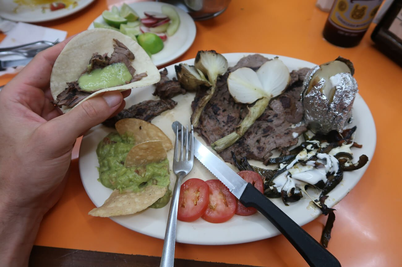 Taco and arrachera platter from El Fogon restaurant in Playa del Carmen