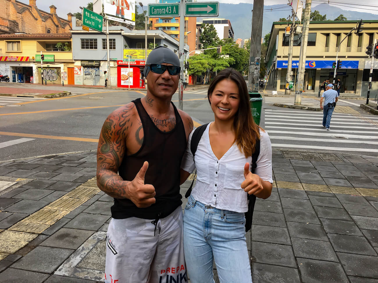 Kim with Osmin on streets of Medellin