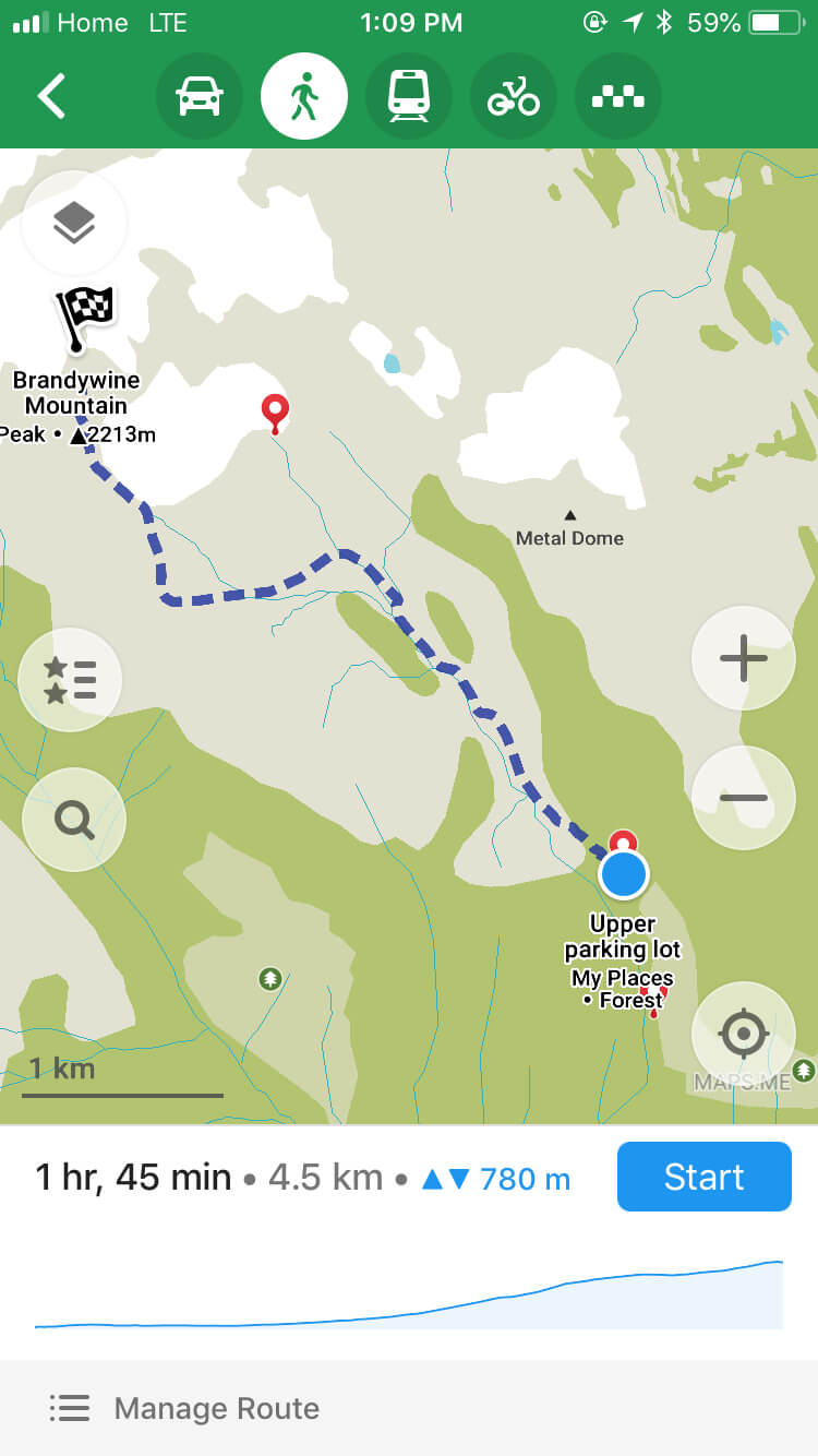 Maps.Me screenshot of the Brandywine Meadows hike