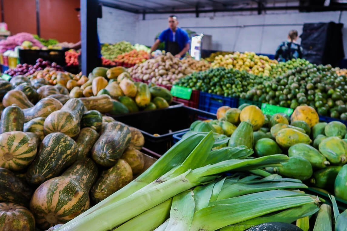 envigado market selection leeks pumpkin limes and mango