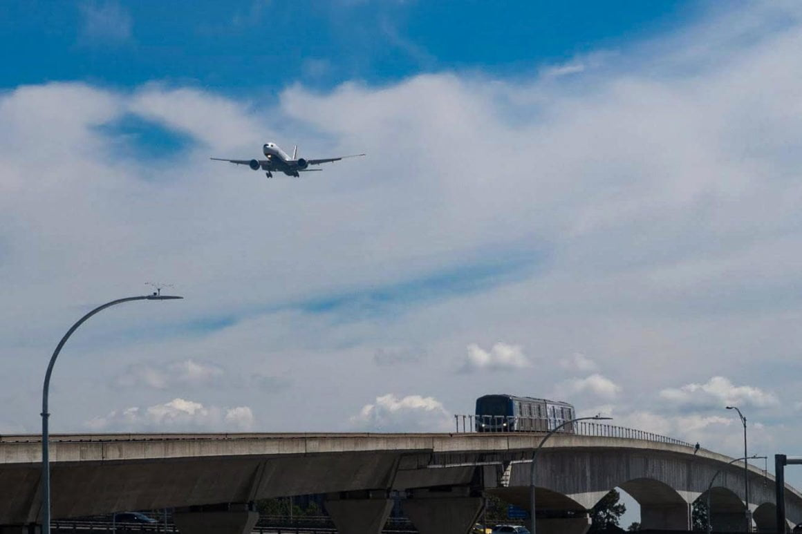Skytrain and plane.