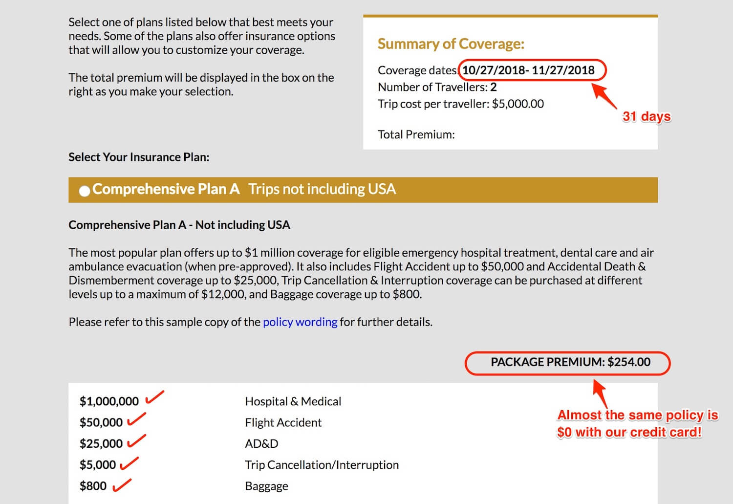 Travel insurance quote screenshot