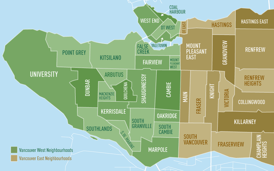 Vancouver neighborhood map