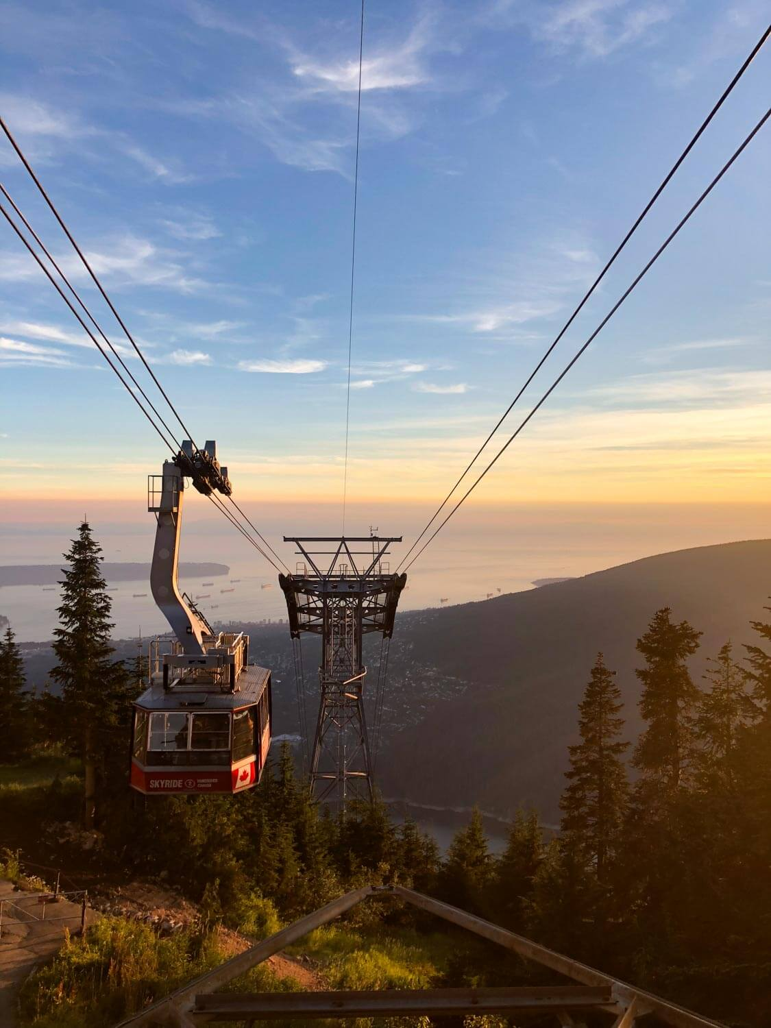 Grouse mountain gondola at sunset