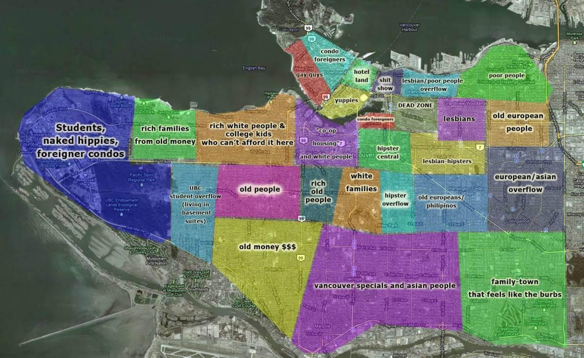 Funny Vancouver neighborhood map