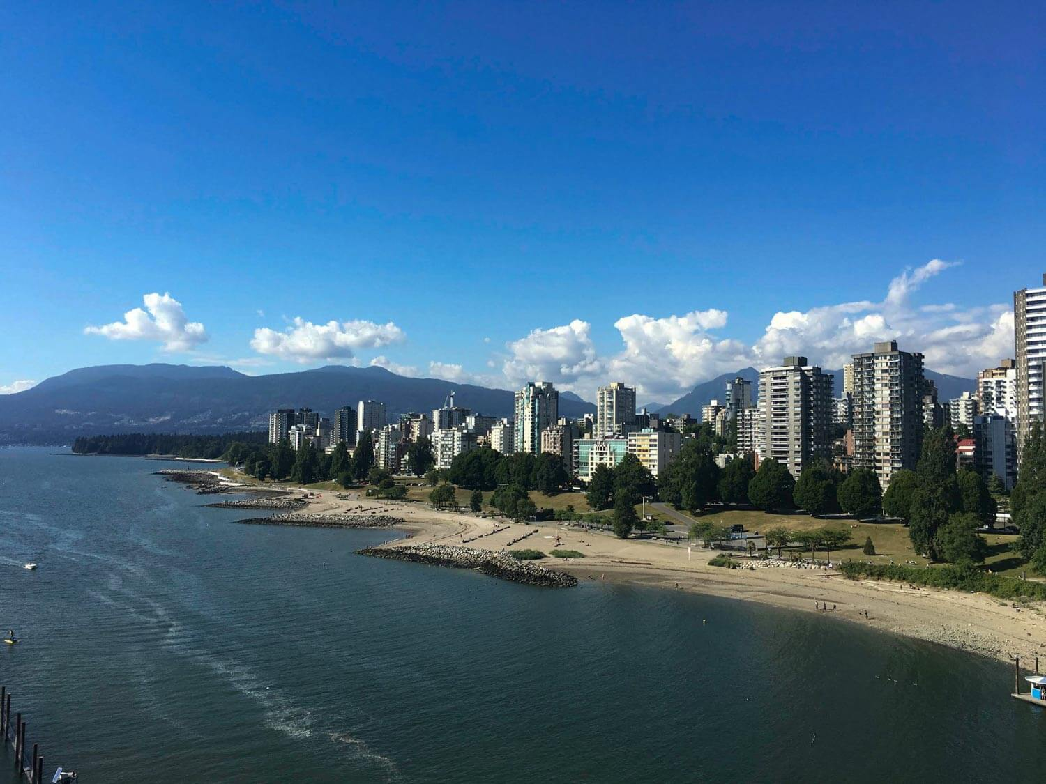 Vancouver West End and Sunset Beach viewed from Burrard Bridge
