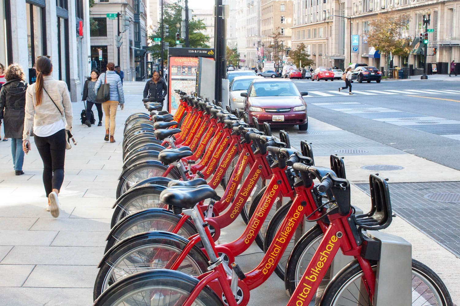 Row of Capital Bikeshare bikes downtown