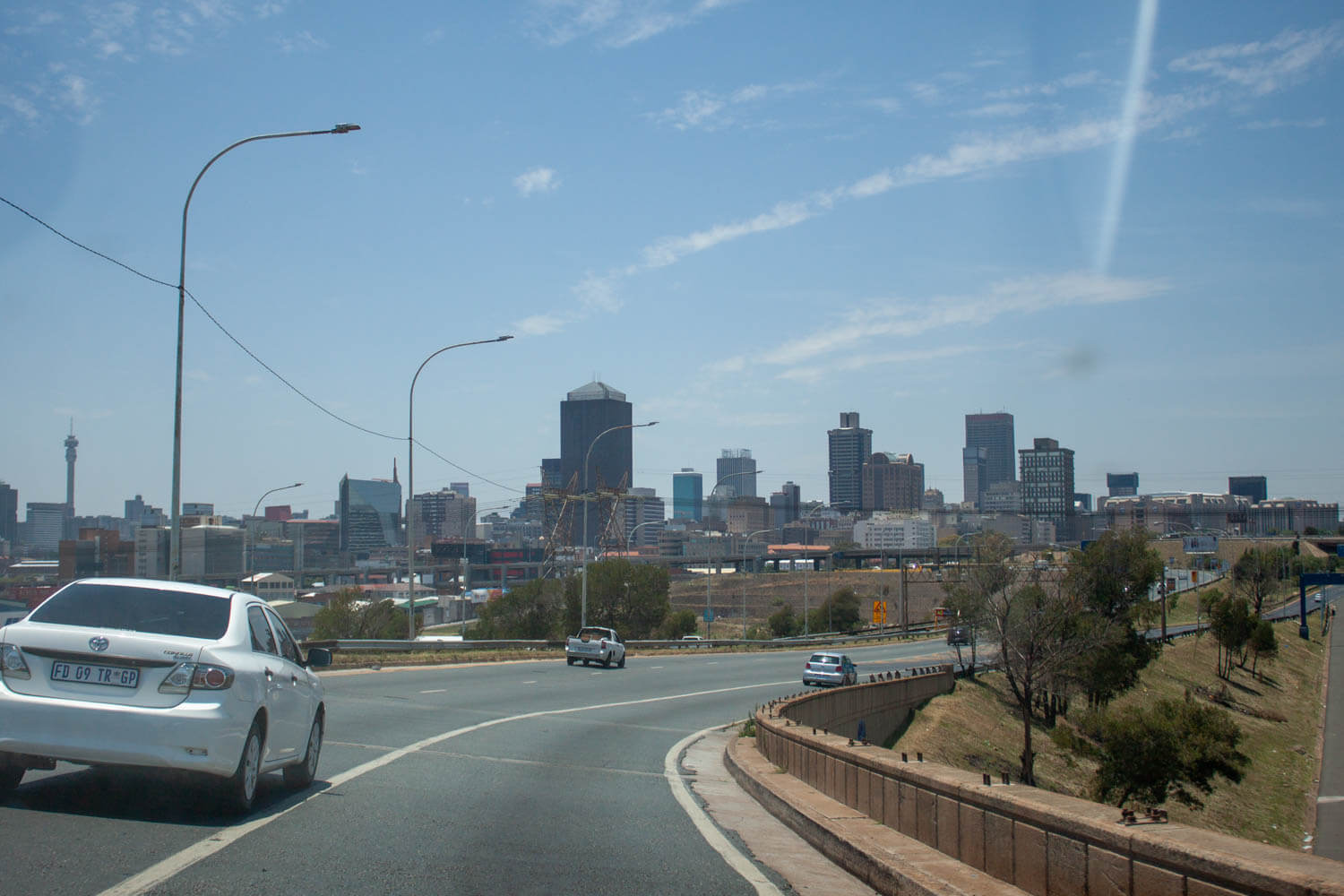 view of downtown Johannesburg from the highway