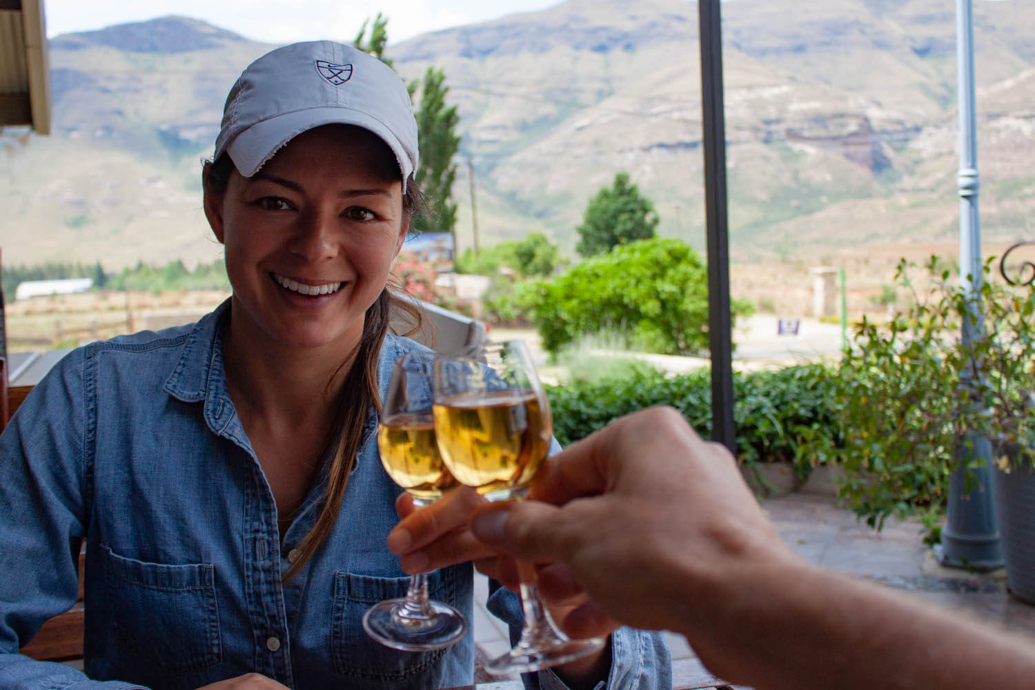 Cheersing with sherry at Cinnamon and Sugar restaurant