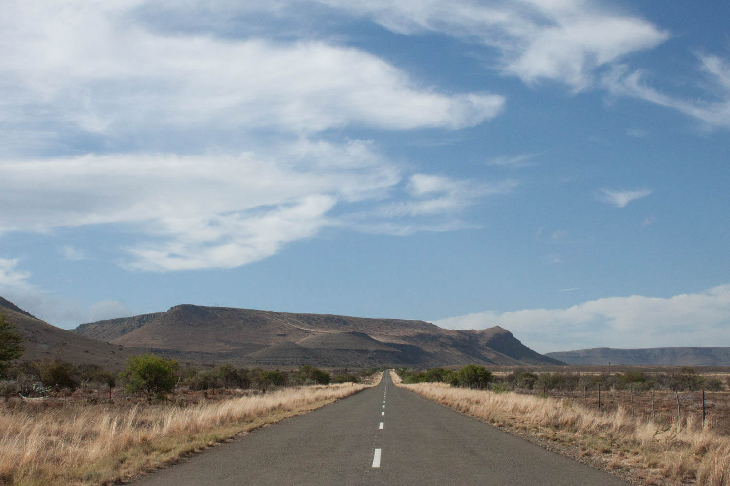 South African deserted highway on our Cape to to Joburg road trip