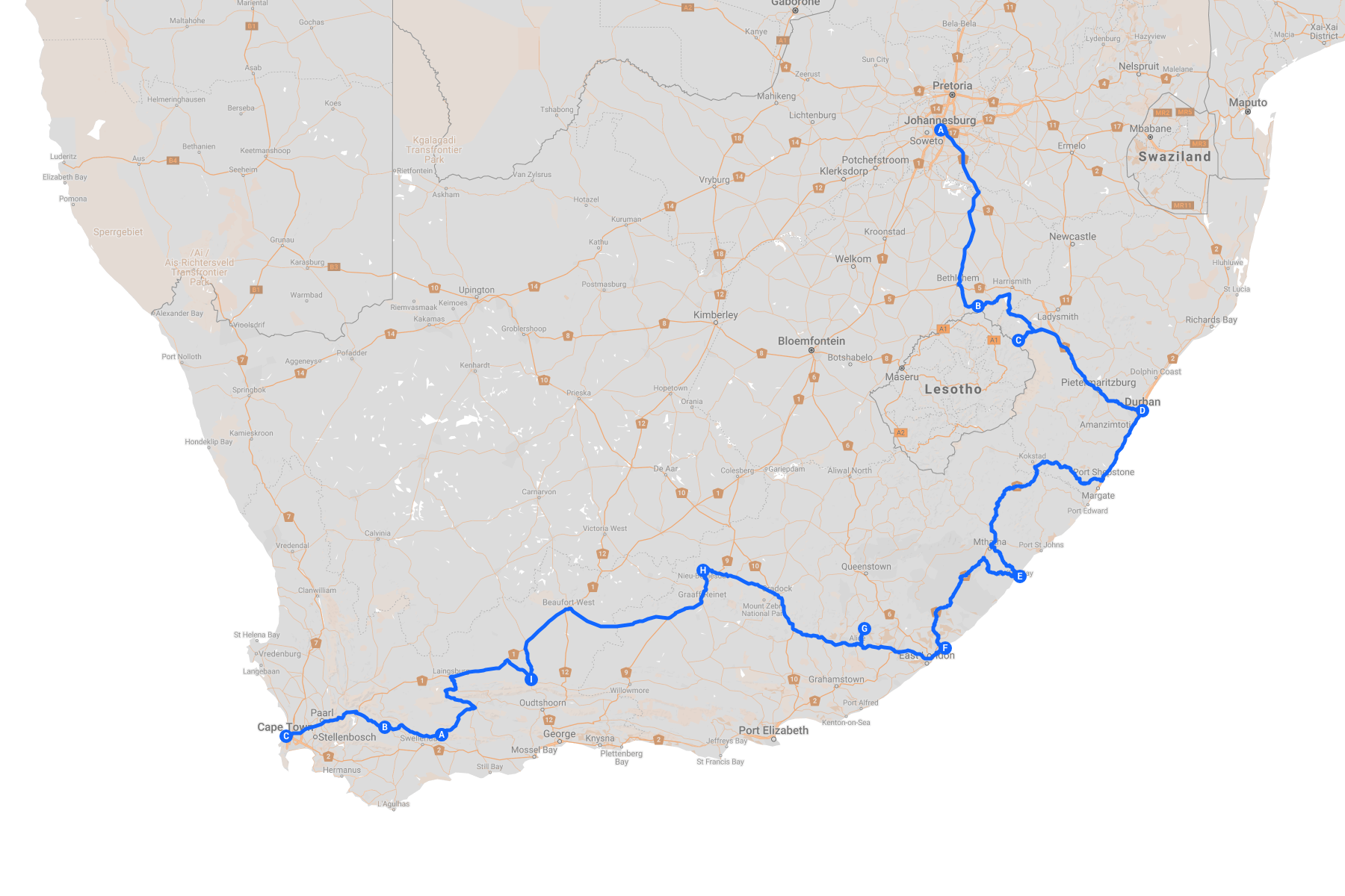 Map of the Hectic Route Johannesburg to Cape Town route trip