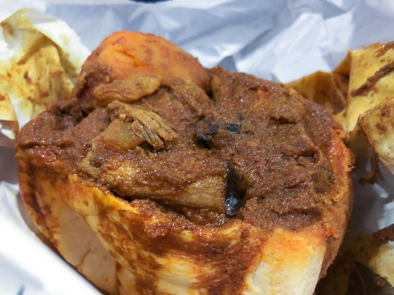 Close up of bunny chow