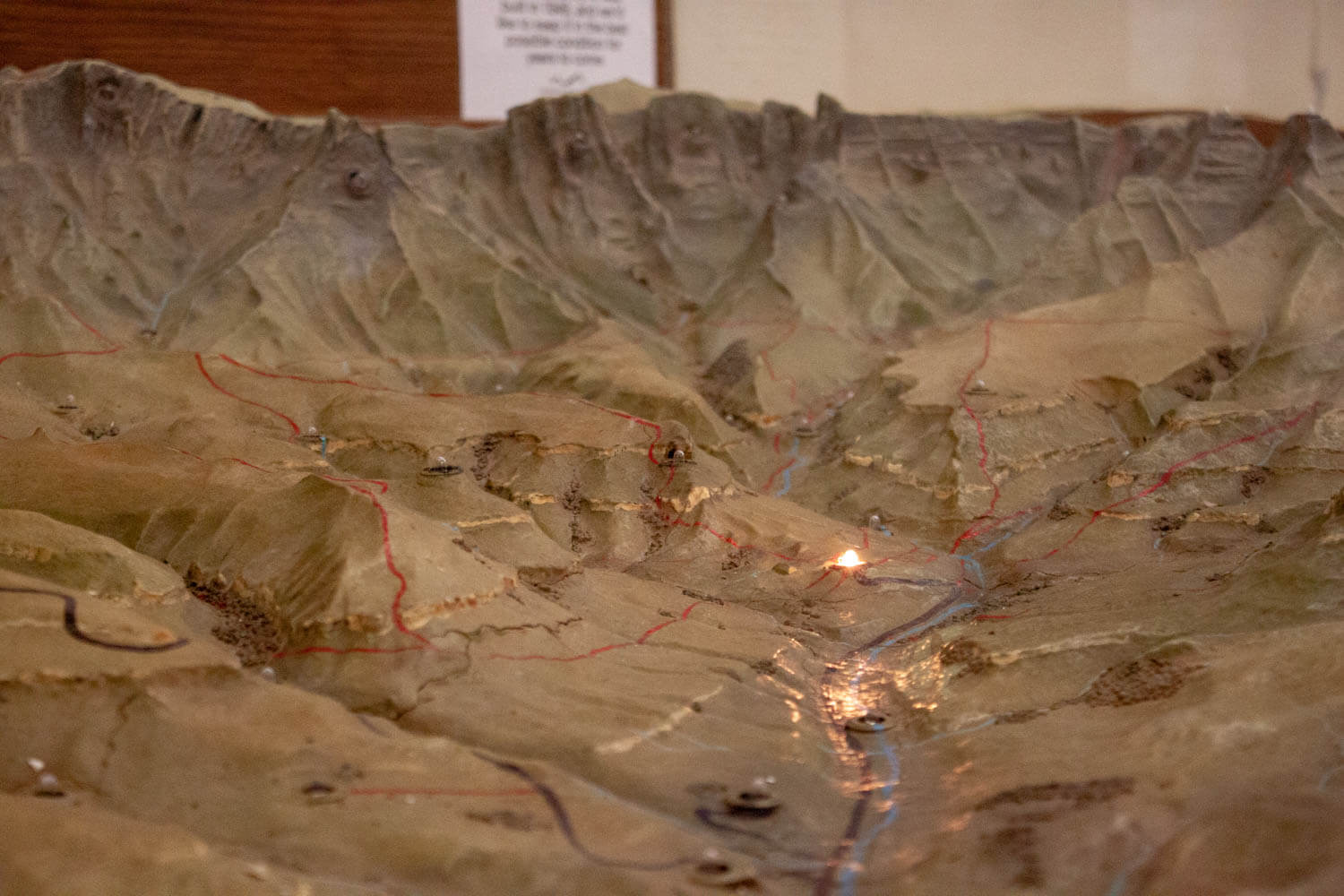 The hotel's model of all the hikes in Cathedral Peak Hotel