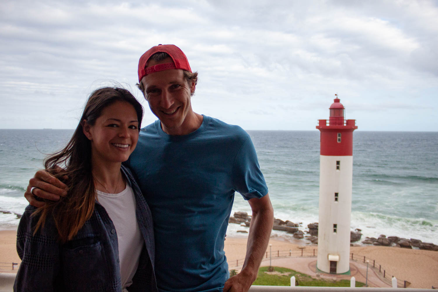 Chris and Kim in front of Lighthouse in Umhlanga
