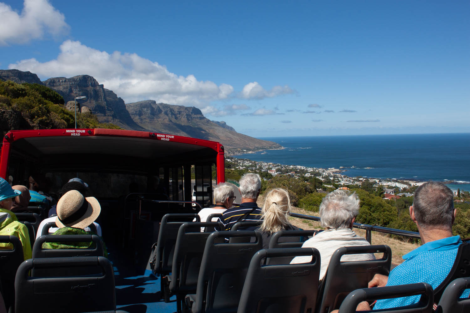 View from the top of hop on hop off bus going down to Camps Bay