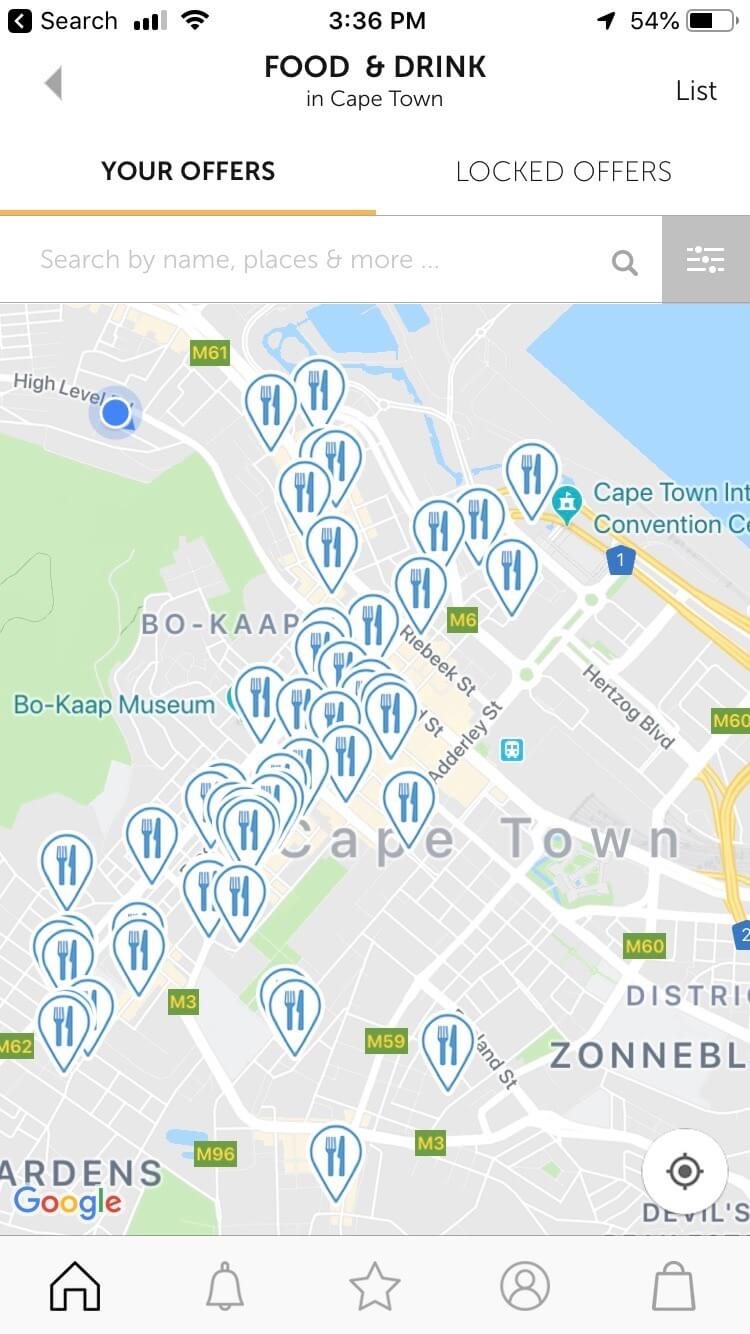 Screenshot of downtown Cape Town restaurants that offer 2-for-1 deals on the Entertainer App.