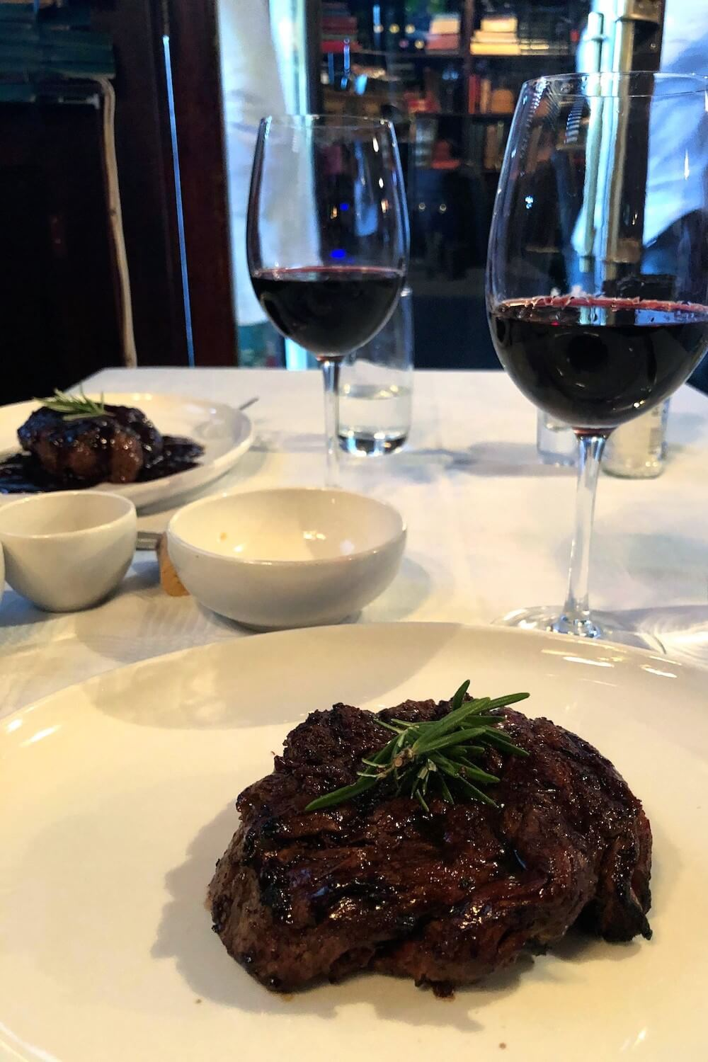 Steak and wine at Hussar Grill, a classic Cape Town restaurant known for great steaks.