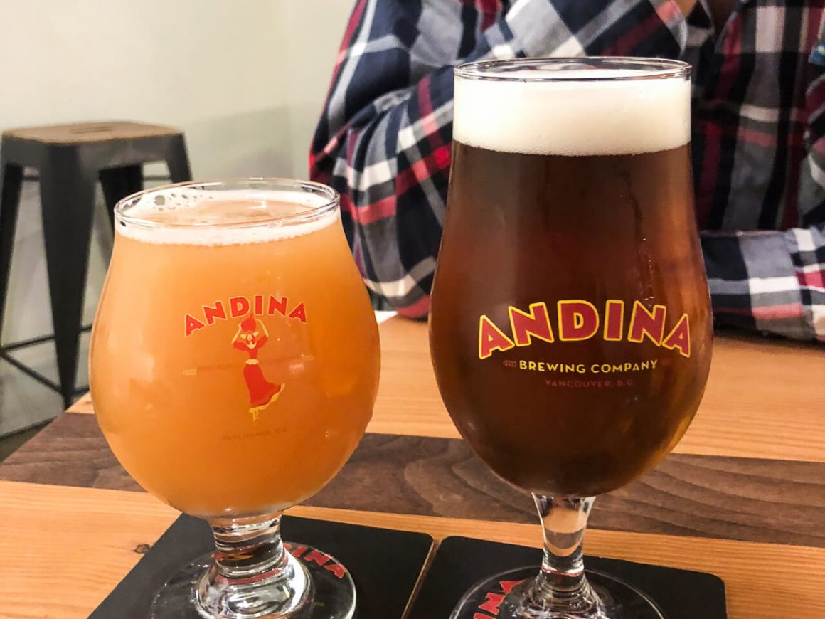 A couple of beers from Andina Brewery in Vancouver.